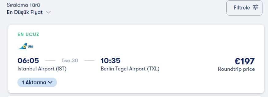 istanbul berlin uçak bileti fiyatları