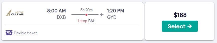 Dubai to Baku flight deal price with discount