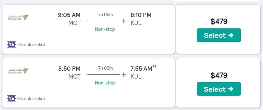 Oman Air Kuala Lumpur flight price