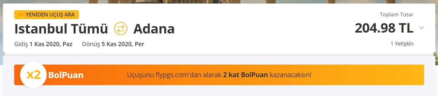 İstanbul Adana uygun bilet fırsatı fiyatı