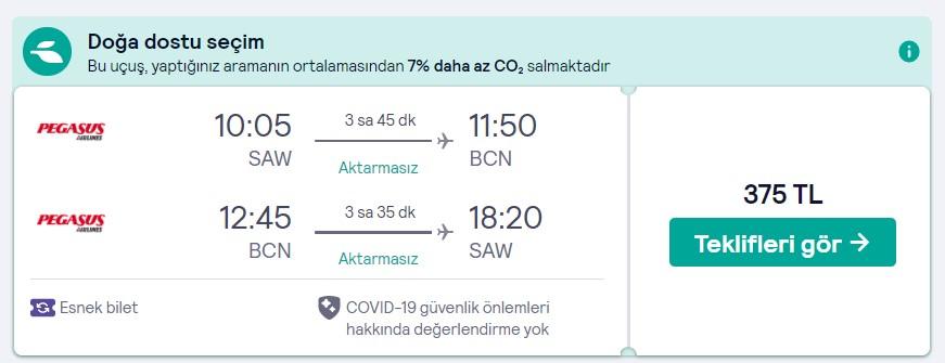 İstanbul Barselona ucuz uçak bileti fiyatları