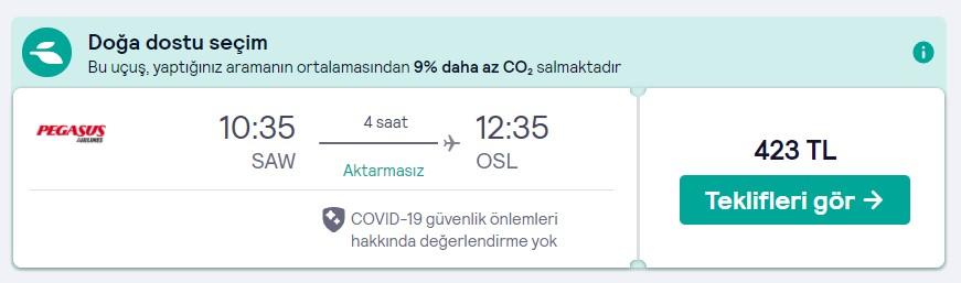 İStanbul Oslo ucuz uçak bileti fiyatı