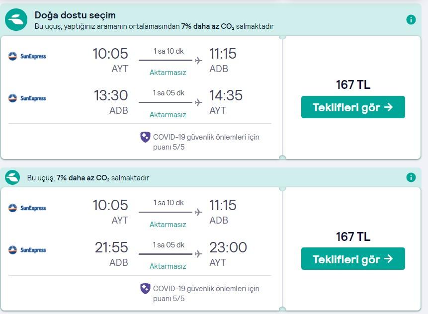 Antalya İzmir ucuz bilet fırsatı