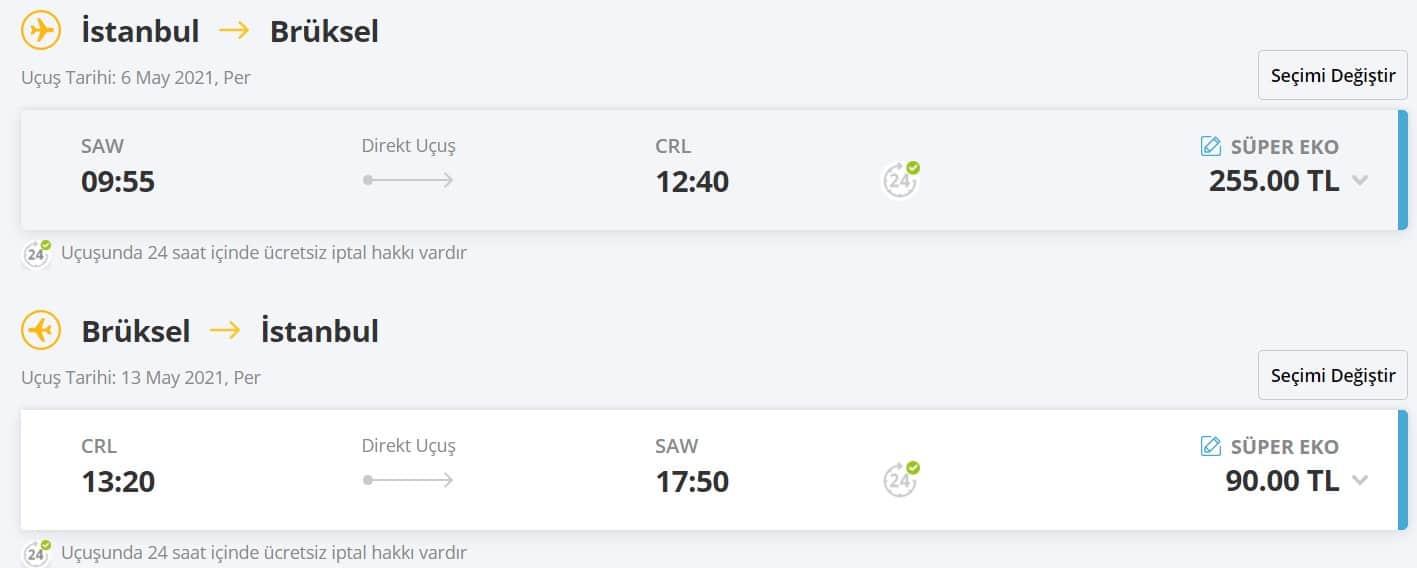 Brüksel gidiş dönüş kampanyalı uçak bileti fiyatı