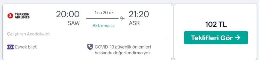 Kayseri THY ucuz uçak bileti fırsatı