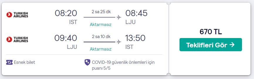 İstanbul Lübliyana ucuz uçak bileti fiyatı