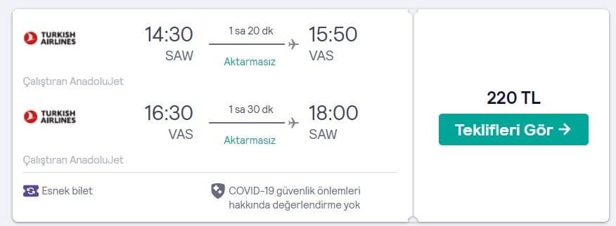 İstanbul Sivas arası ucuz uçak bileti fırsatı fiyatları