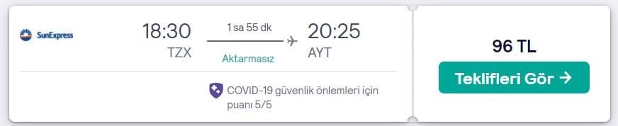 Trabzon Antalya seyahat fırsatı fiyatı