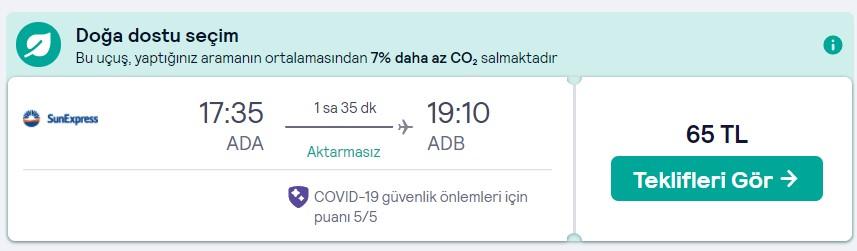 otobüsten daha ucuz Adana İzmir uçak bileti