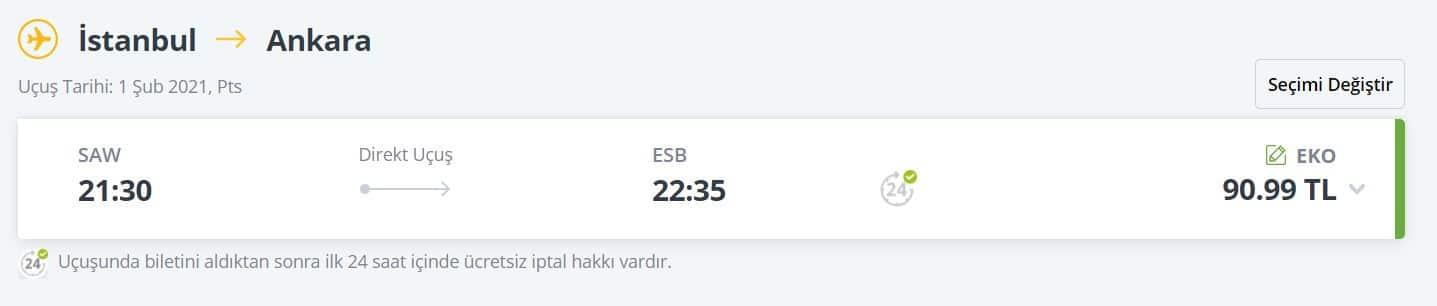 Ankara uçak bileti indirimi