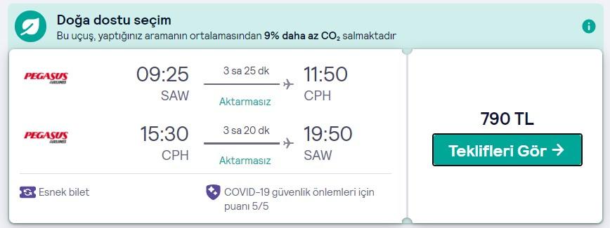 İstanbul Danimarka en ucuz bilet fiyatı