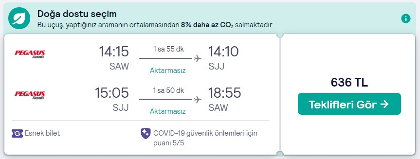 İstanbul Saraybosna seyahat fırsatı
