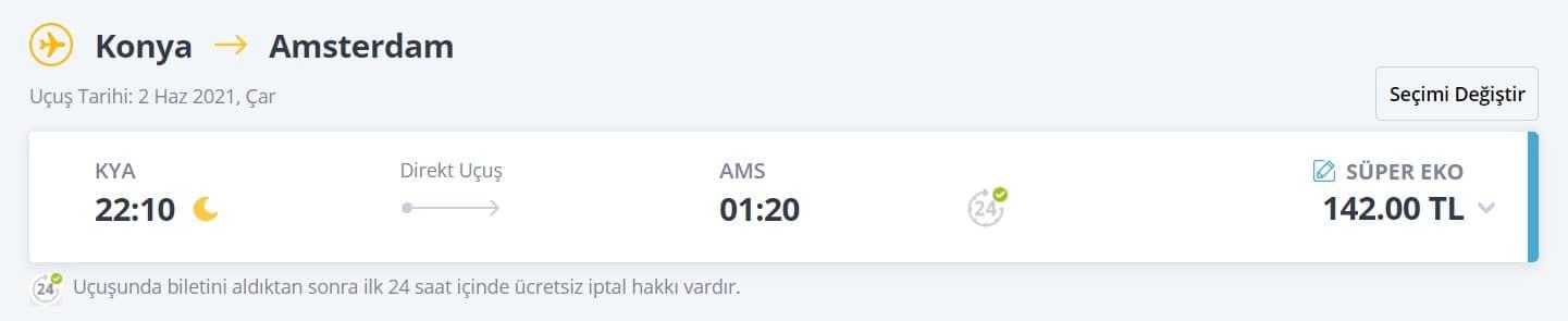 Amsterdam en ucuz uçak bileti fiyatı